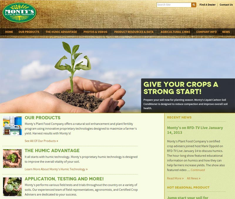 Monty's Plant Food Website Design